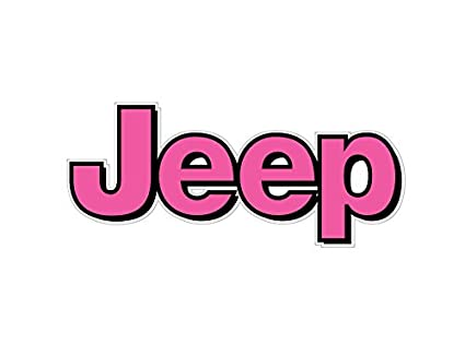 amazon com 1064 jeep logo with pink and black border 2 pack automotive rh amazon com jeep logo font name jeep wrangler logo font