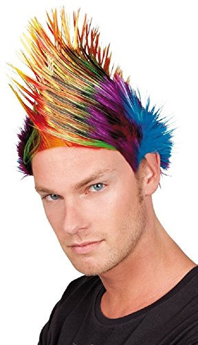 Mens 1970s Multi Coloured Rainbow Punk Rock Mohawk Fancy Dress Costume Outfit Wig