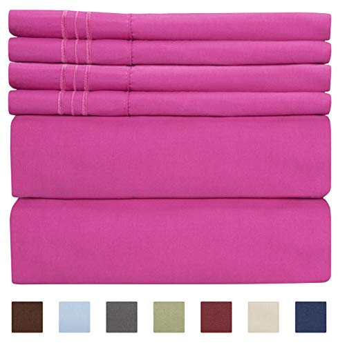 Queen Size Sheet Set - 6 Piece Set - Hotel Luxury Bed Sheets - Extra Soft - Deep Pockets - Easy Fit - Breathable & Cooling Sheets - Wrinkle Free - Comfy - Pink Bed Sheets - Queens Sheets - 6 PC