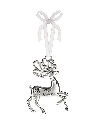 Our First Christmas Silver Reindeer Zinc Epoxy Glass Christmas Ornament