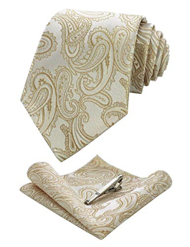 JEMYGINS Gold Paisley Silk Tie and Pocket Square, Necktie with Tie Clip Sets for - Tie Paisley Gold Silk