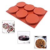 6-Cavity Large Cake Molds Silicone Round Disc Resin