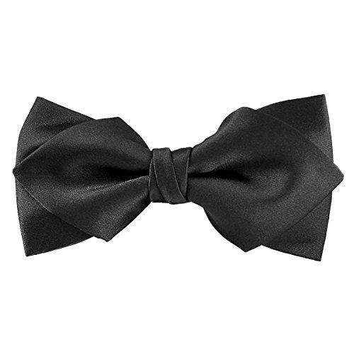 (Murong Jun Luxurious Matte Satin Solid Black Bowtie Mens Bow Tie by Great for a Wedding or Tuxedo (Diamond bowtie))