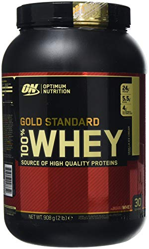 Optimum Nutrition Gold Standard Whey Protein Powder with Glutamine and Amino Acids, Protein Shake by ON - Vanilla Ice Cream, 29 Servings, 908 g