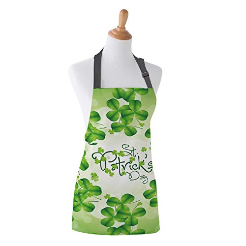 Family Decor Adjustable Bib Apron, Waterdrop Resistant Cooking Kitchen Aprons for Teens Boys Girls, St. Patrick's Day Green Clovers ()