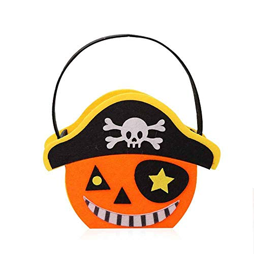 Aolvo Halloween Candy Tote Bags Cute Pumpkin Storage Bag Pirate Goodie Bags for Party Favors Decoration for Kids Presents Trick or Treating