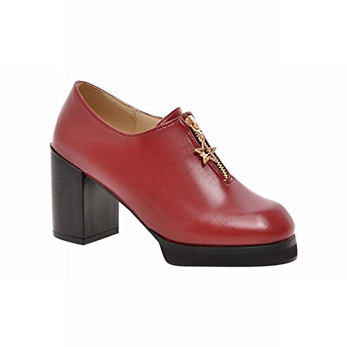 Casual Red Fashion Heel Mid Vintage Shoes Wine Chunky Carolbar Zipper Retro Womens wfxqqR768