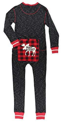 Plaid Moose Caboose Adult Flapjack Onsie Pajamas by LazyOne | Adult Kid Infant Dog Family Matching Pajamas -