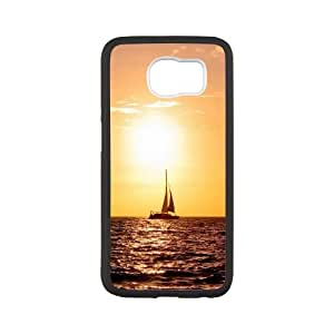 Sailing Sea Boat Warm Sunset Samsung Galaxy S6 Cell Phone Case White phone component RT_353029