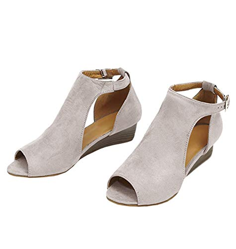 (Pxmoda Womens Open Toe Ankle Buckle Wedge Sandals Cut Out Cushioned Strap Bootie Boots (US 8, Beige))