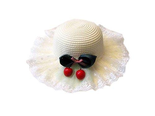 PANDA SUPERSTORE Little Girls White Lace Cherry Straw Hat ()