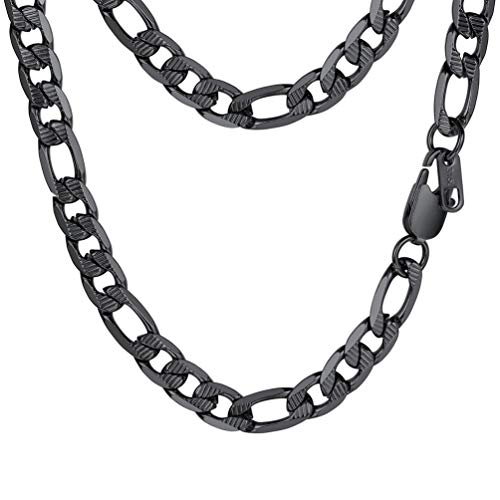 - PROSTEEL Black Figaro Chain Necklace Vintage Punk Rock Link Chain Layering Layered Necklace Women Men Jewelry