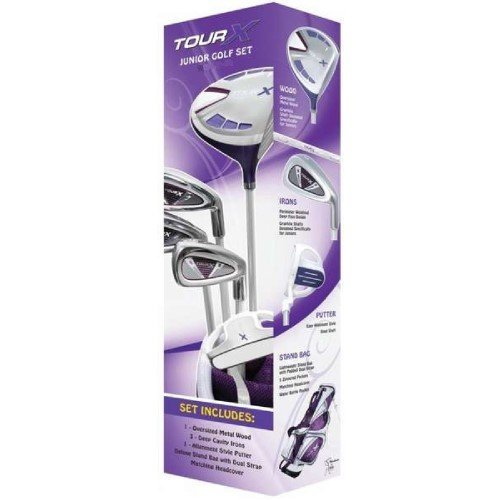 Merchants of Golf Tour X Purple 5-Piece Junior Golf Complete Set with Stand Bag, Right Hand, 12+ Age, Graphite, Regular by Merchants of Golf