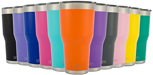 Simple Modern Tumbler Vacuum Insulated 30oz Cruiser with Lid - Double Walled Stainless Steel Travel Mug - Sweat Free Coffee Cup - Compare to Yeti and Contigo - Powder Coated Flask - Autumn Orange (Orange Mug With Lid compare prices)
