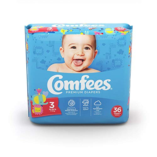 Comfees Diapers Size 3, Disposable Baby Diapers,144 Count, Economy Pack Plus (Box of 4 Packs)…