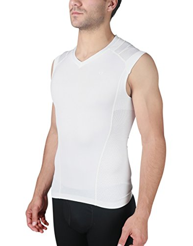 IntelliSkin, LLC Men's Essential V-Tank - Posture Correction Tank - Ideal For Workouts and Sports With Large Range Of Motion (X-Large, White) by IntelliSkin, LLC