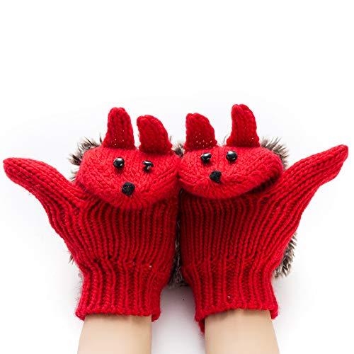 Pahajim Women's cute animal gloves Cartoon Hedgehog Winter Cotton Gloves Girls' Thick Mittens (red)