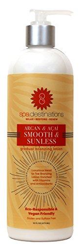 Spa Destinations Argan & Açaí Smooth & Sunless Gradual Bronzing Lotion 16 Ounce (Best Gradual Self Tanning Lotion)