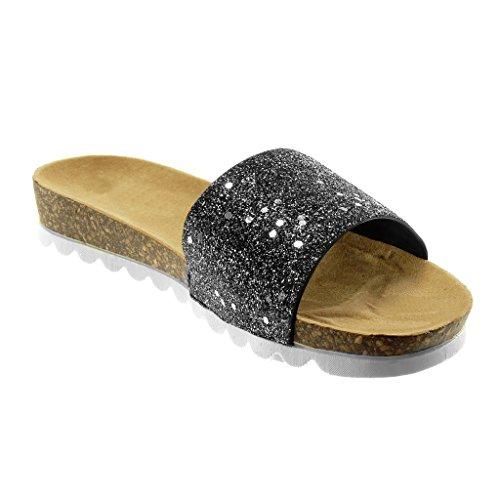 Muldyr Glitter 3 Sandaler on Hæl Sko Skinnende Kork Slip Mote Kvinners Angkorly Sort Flat Cm HwtqpSx