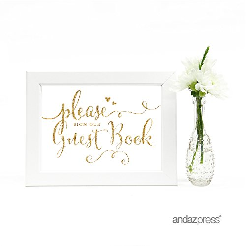 Andaz Press Wedding Framed Party Signs, Gold Glitter Print, 5x7-inch, Please Sign our Guestbook, 1-Pack, Not Real Glitter, Includes Frame