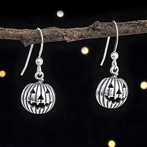 (Sterling Silver Jack-O-Lantern Pumpkin Earrings - Solid .925 Sterling Silver, Ready to)