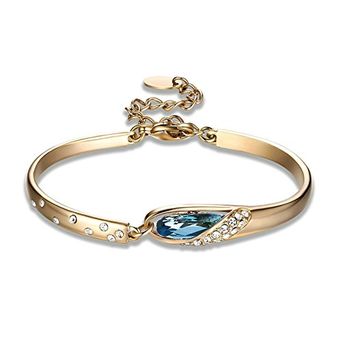 Minnesota Twins Charm (Anazoz Women Bracelet, Rold Plated Blue Zirconia Women Bangle Bracelets Wedding Christmas Gift)