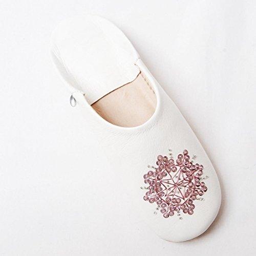 Geachte Marokko Stella Schapenwol Pantoffels Wit En Roze