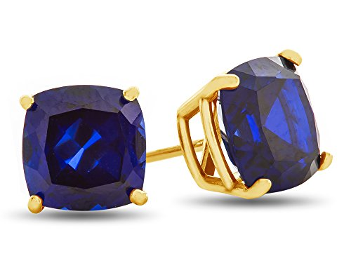 Yellow Gold Cushion Gemstone - Finejewelers 7x7mm Cushion Created Blue Sapphire Post-With-Friction-Back Stud Earrings 14 kt Yellow Gold