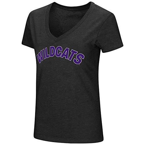 - Colosseum Womens NCAA-Valuable Commodity-Dual Blend V-Neck Slim Fit T-Shirt-Northwestern Wildcats-Black-Medium