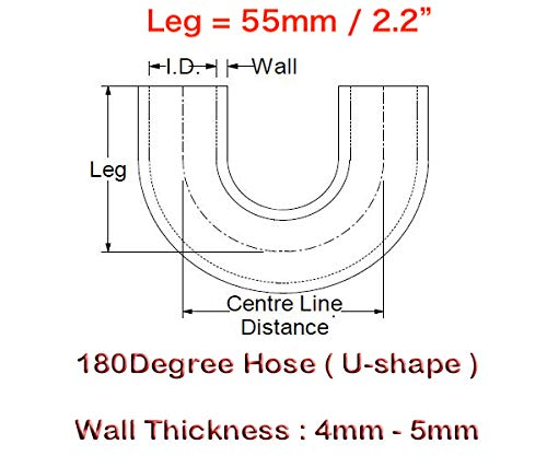 U-shape 180-Deg Elbow Coupler ID 2 Center Line Distance 6 Black Wall Thickness 0.16 3-Ply Autobahn88 Universal Automotive Silicone Hose 4mm 152mm 51mm
