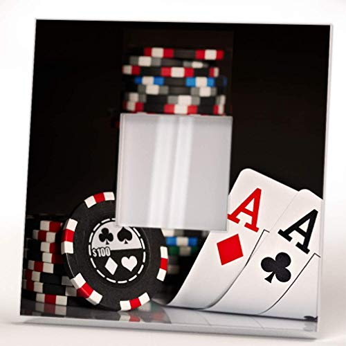 Gambling Poker Cards Chips Aces Wall Framed Mirror Decor Casino Fan Design Art Printed Home Gift