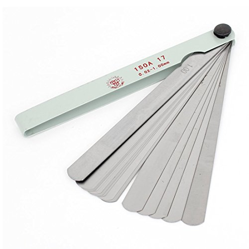 Uxcell 17 Blades Metric Gage Feeler Gauge, 150mm/0.02mm to ()