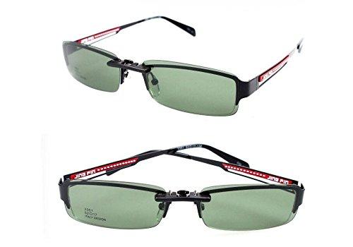 Up femmes de de vision sur pour lunettes rectangle polarisées nocturne Flip lunettes sans lunettes Vert hommes de Foncé lunettes cadre soleil Clip soleil lentille polarisées Tukistore qOYwH7tO