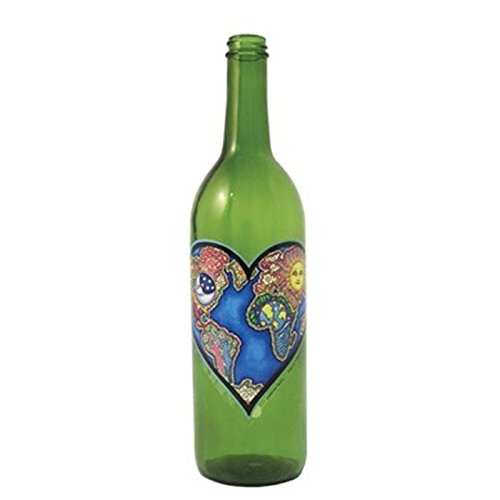 WILDBERRY Green Glass Incense Smoking Bottle HEART design, Plus 10 Sticks Free AMBER Incense