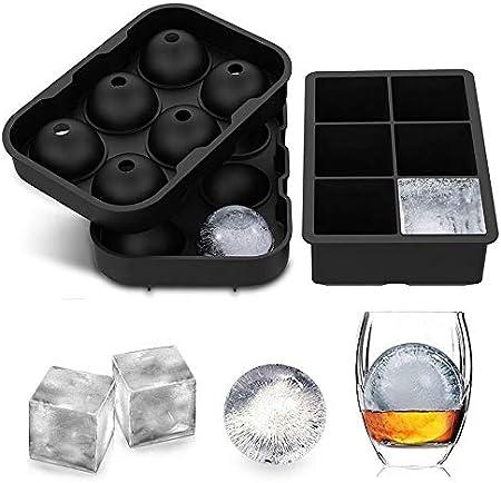 Bandejas de cubitos de hielo (juego de 2), Esfera de silicona Whisky Ice Ball Maker con tapas y moldes cuadrados grandes de cubitos de hielo para cócteles y reutilizables con Bourbon