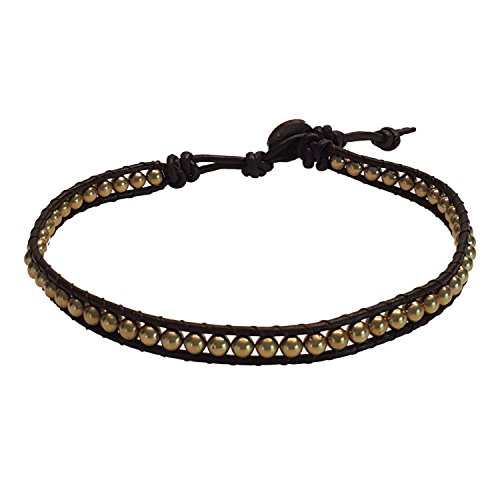 Men Anklet Round Brass Bead Ankle bracelet 10-10.5 inches woven with Leather cord beautiful handmade hippie bohemian style