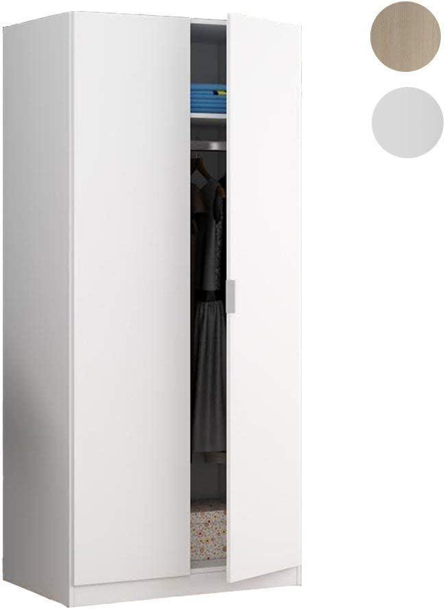 Habitdesign LCX022O - Armario Dos Puertas, Color Blanco Mate, Medidas: 81 cm (Largo) x 180 cm (Alto) x 52 cm (Fondo)