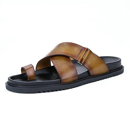 JCH Zapatillas de Playa de Cuero, Zapatos de Playa de Verano Zapatos Ocasionales de Moda de Cuero Genuino cómodo para Hombres -