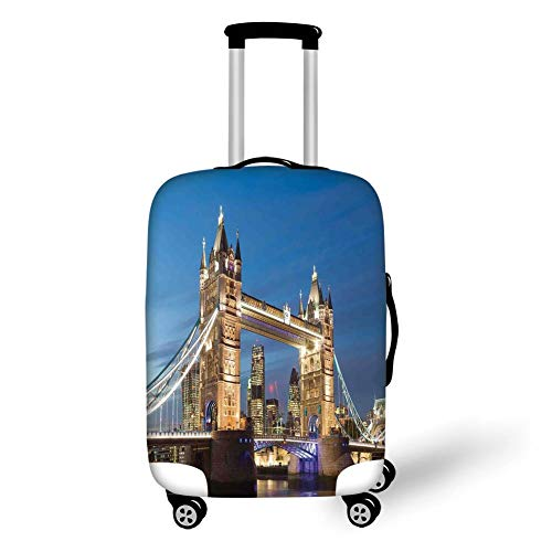 0e5130d160c5 Travel Luggage Cover Suitcase Protector,London,Scenery of Landmark Tower  Bridge at Twilight with Skyscrapers England UK Image,Blue and Ivory£¬for ...