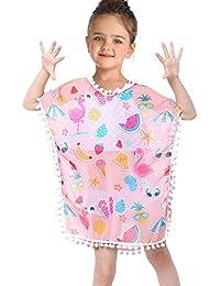 Kid Girls Chiffon Pink Rainbow Cover-up Beach Swimsuit Coverup Pompom Tassel