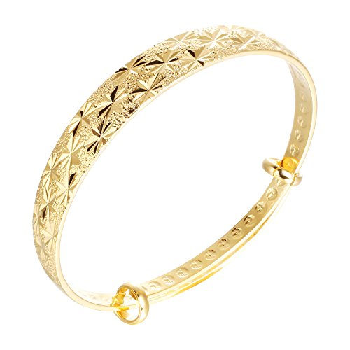 OPK Jewelry Classical18k Yellow Gold Diamond-Cut Bangle Bracelet High Polish Metal Finish Adjustable