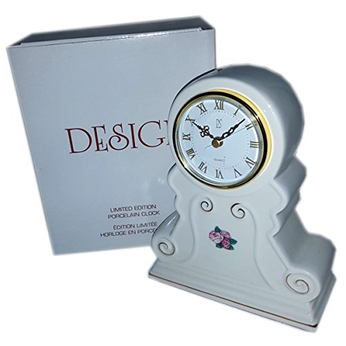 (Sebastian 1998 PS Design Porcelain w/Rose Quartz Table Desk Clock Limited)