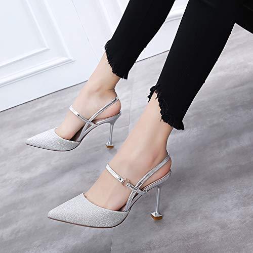 Yukun 37 Tacones Zapatos Verano con tacón Un Huecos con Altos Salvaje zapatos Silver De Grueso Acentuados alto Rosa Hebilla con Palabra Mujer de Zapatos Solo Otoño Femeninos raSqxgr