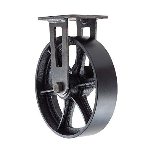 """8"""" CC Vintage Rigid Caster - Plate Mount - Black Cast Iron Wheel"""