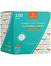 """Screen & Electronic Cleaning Wipes, 100 Pre-Moistened Individual Wrapped (6"""" x 6"""") TV Screen Cleaner, Computer Monitor, Laptop, Lens Wipes, Monitor, Tablet, Safe for All Screens 