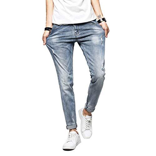 Jeans Estate Distressed Stretch Holes Distrutti Hellblau Cher Primavera Dritti Uomo Ripped Adelina Abbigliamento Nne Casual ZdqppF