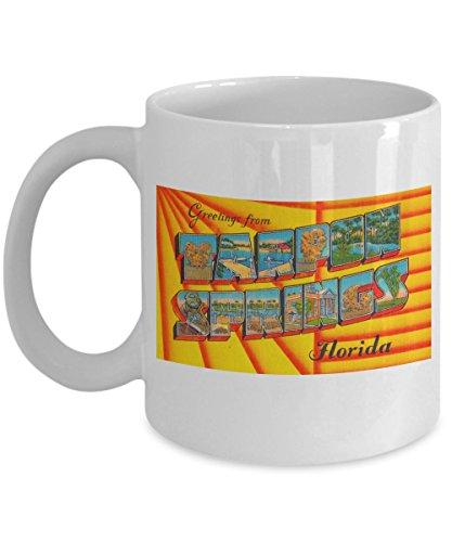 (Greetings from Tarpon Springs Florida, Vintage Large Letter Postcard Design: White Ceramic Coffee Mug)
