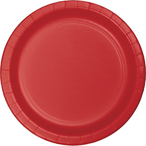 Creative Converting 791031B Touch of Color 240 Count Round Small/Dessert Paper Plates, Classic Red