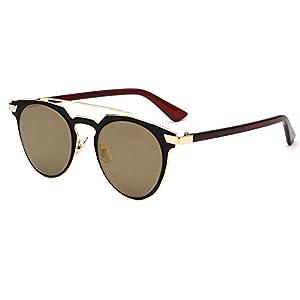 Amomoma Fashion Aviator Sunglasses Flat Reflective Cateye Metal Eyewear AS1701
