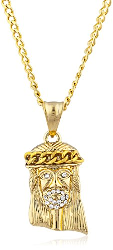 Stainless Steel Goldtone Jesus Head Pendant with 24 Inch Cuban Chain ()